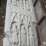 The MacDougall tomb-chest, Somerled MacDougall and his sons Duncan and Dougall, successive priors of the monastery.